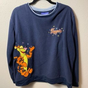 DISNEY Womens XL Blue Tigger Sweatshirt